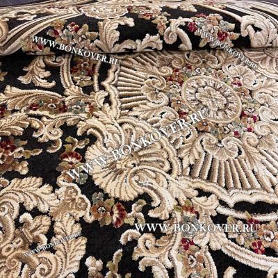 Ковер для Гостиной из Артшелка Дизайн 23 Gold Brown Овал