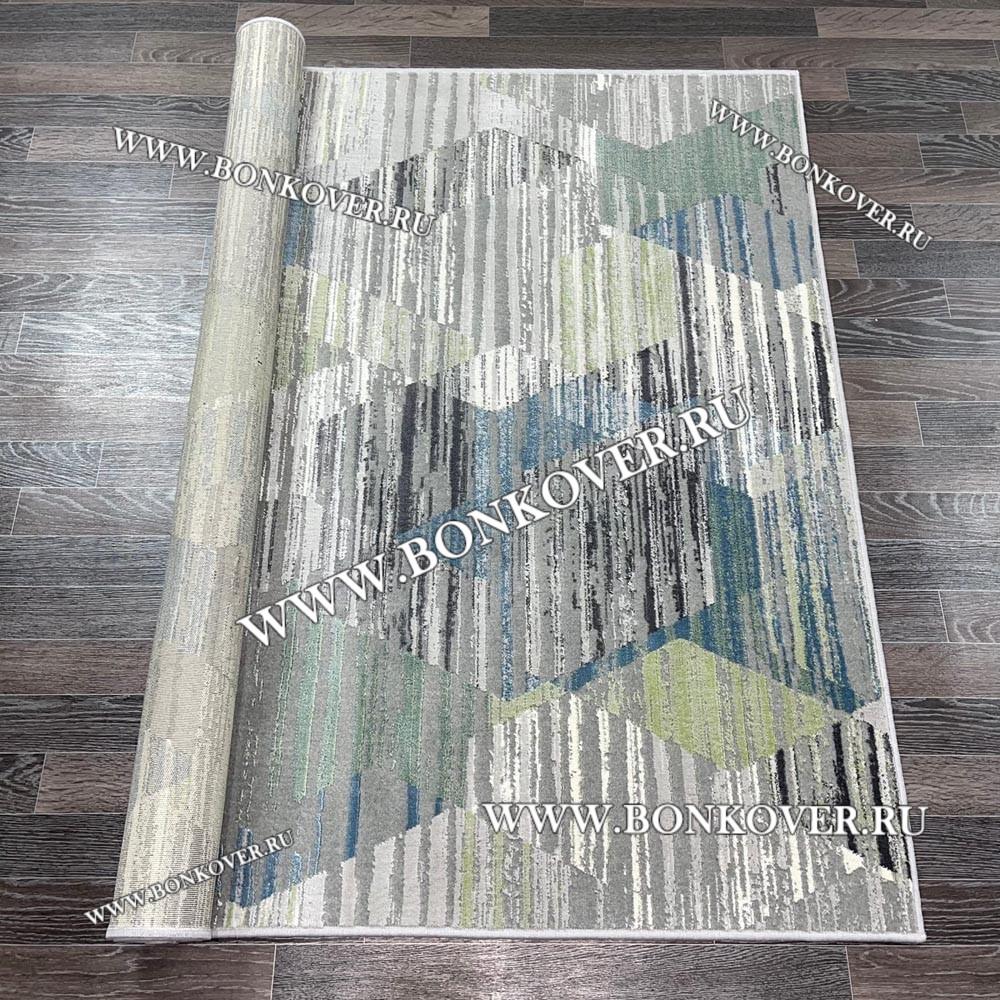Современный Ковер из АртШелка Геометрия Сине-зеленый 01