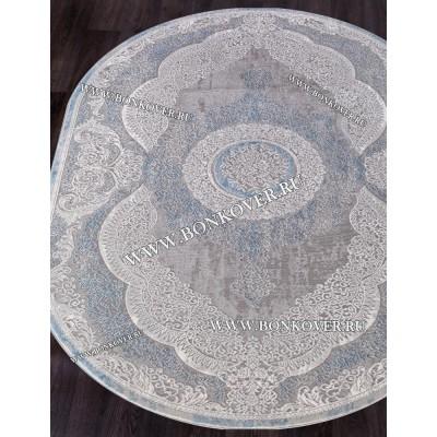 Турецкий Ковер Для Гостиной Дизайн 33 Синий с Серым Овальный